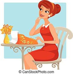 Mujer con máquina de escribir