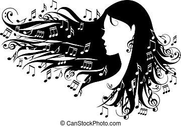 Mujer con notas musicales