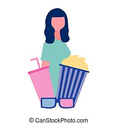 Mujer con palomitas de maíz y gafas de soda película