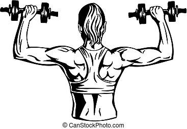 Mujer con pesas - fitness. Ilustración de vectores.