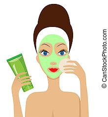 Mujer con una máscara cosmética en la cara