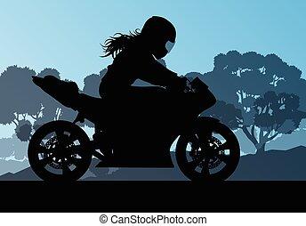mujer, conductor, vector, motocicleta, plano de fondo, rendimiento, truco, extremo