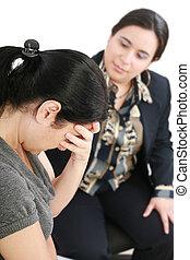 mujer, consultor, o, joven, psicólogo, conversación
