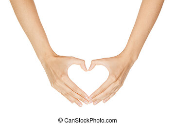 mujer, corazón, señal, elaboración, plano de fondo, aislado, mano, blanco