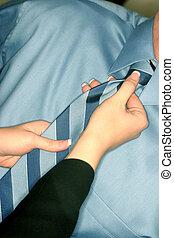 mujer, corbata, ajusta, boss'