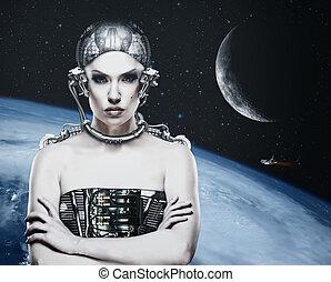 Mujer Cyborg, ciencia abstracta y fondo tecnológico