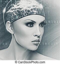 Mujer Cyborg, retrato abstracto femenino para tu diseño