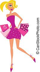 Mujer de compras de romance en rosa
