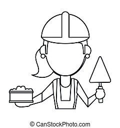 Mujer de construcción con ladrillo y espátula delgada línea