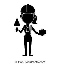 Mujer de construcción con ladrillo y espátula pictogram