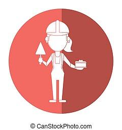 Mujer de construcción con ladrillo y espátula sombra