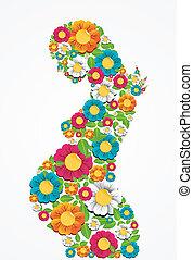 Mujer de flores de primavera embarazada