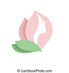 Mujer de las flores, logo del vector