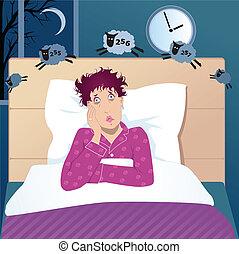 Mujer de mediana edad con insomnio