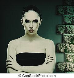 Mujer de moda, retrato abstracto femenino para tu diseño