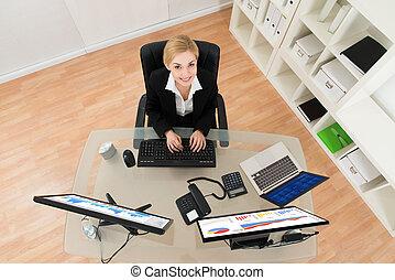 Mujer de negocios analizando el gráfico en la computadora