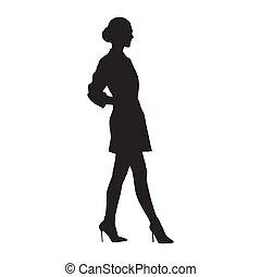 Mujer de negocios caminando con zapatos de tacón alto y minifalda, vista lateral, silueta vectorial aislada. Gente de negocios, modelo