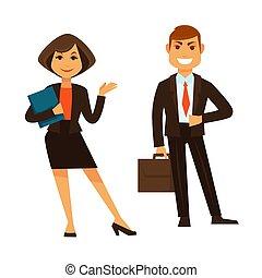 Mujer de negocios con carpeta y empresario con maletín aislado en blanco
