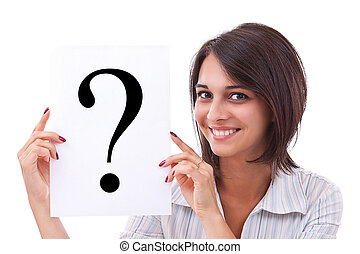 Mujer de negocios con signo de interrogación