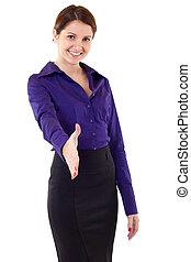 Mujer de negocios dando la mano por apretón de manos