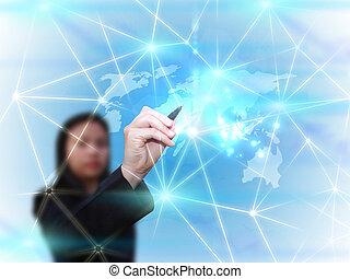 Mujer de negocios dibujando comunicación de la red de medios sociales