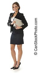 Mujer de negocios en blanco