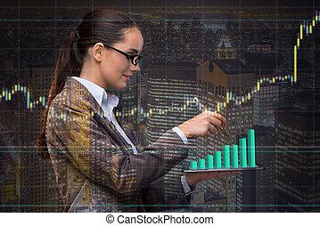 Mujer de negocios en concepto de comercio de valores