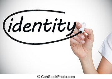 Mujer de negocios escribiendo la palabra identidad
