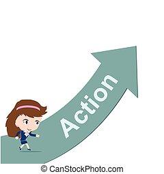 Mujer de negocios feliz corriendo sobre Green Arrow con la palabra Acción