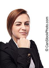 Mujer de negocios guiñando el ojo