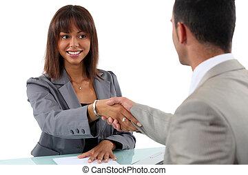 mujer de negocios, hombre, sacudarir las manos