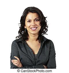 Mujer de negocios latino compuesta sonriendo