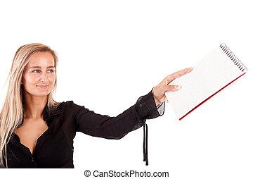 Mujer de negocios llena de pensamientos