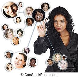 mujer de negocios, norteamericano, africano, red, social