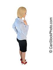Mujer de negocios pensando en una solución