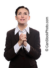 Mujer de negocios rezando