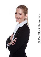 Mujer de negocios sonriente y brillante
