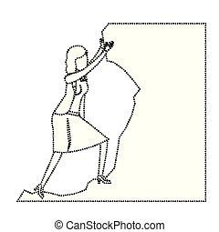 Mujer de negocios tratando de subir a la cima de la silueta de monocromo de piedra