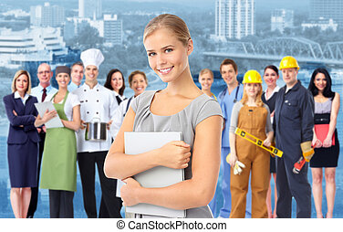Mujer de negocios y Grupo de trabajadores industriales.
