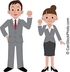 Mujer de negocios y hombre de negocios