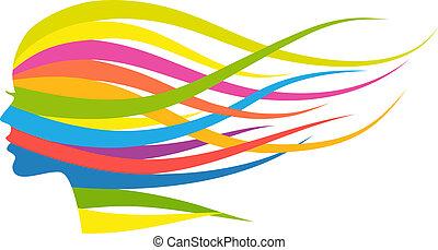 Mujer de pelo multicolor, vector