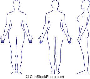 Mujer de pie desnuda silueta