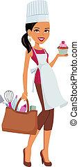 Mujer de piel oscura con pastel