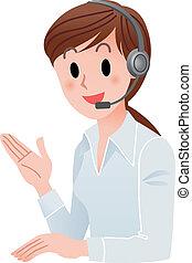 Mujer del servicio de cliente sonriendo