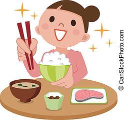 mujer, delicioso, comida que come