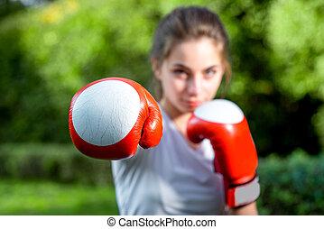 mujer, deportes, parque, joven