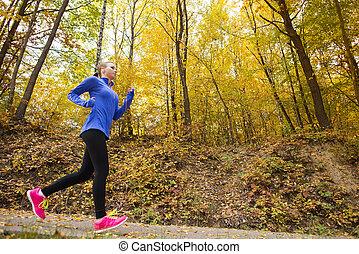 mujer, deportivo, naturaleza, corredor, otoño, activo