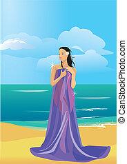 Mujer desnuda envuelta en una toalla