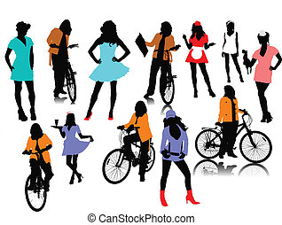 mujer, doce, vector, silhouettes.