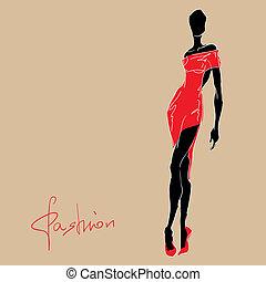 mujer, dress., moda, rojo